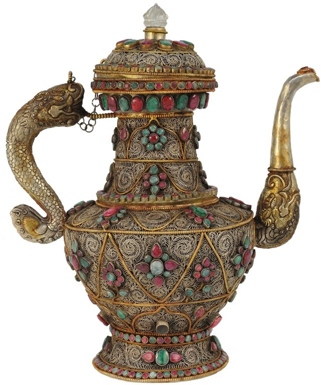 171: A LARGE CONTINENTAL FILIGREE TEAPOT WITH RUBY AND