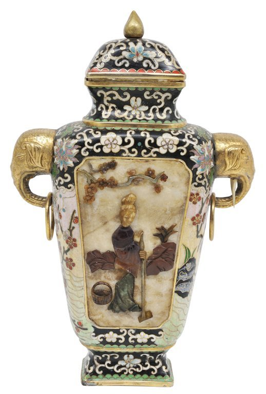 174: A CHINESE CLOISONNÉ AND HARDSTONE LIDDED VASE 20th