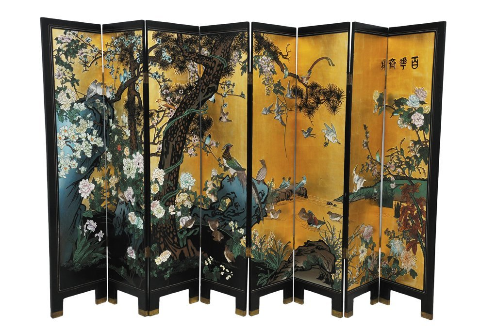 175: A CHINESE EIGHT PANEL GOLD LEAF INCISED SCREEN 20t