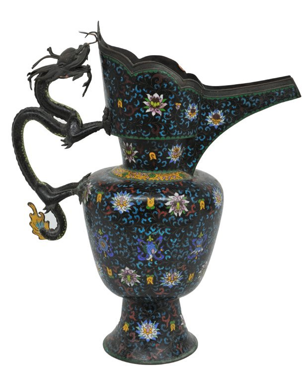 177: A CHINESE CLOISONNÉ LIDDED WATER PITCHER 19th Cent