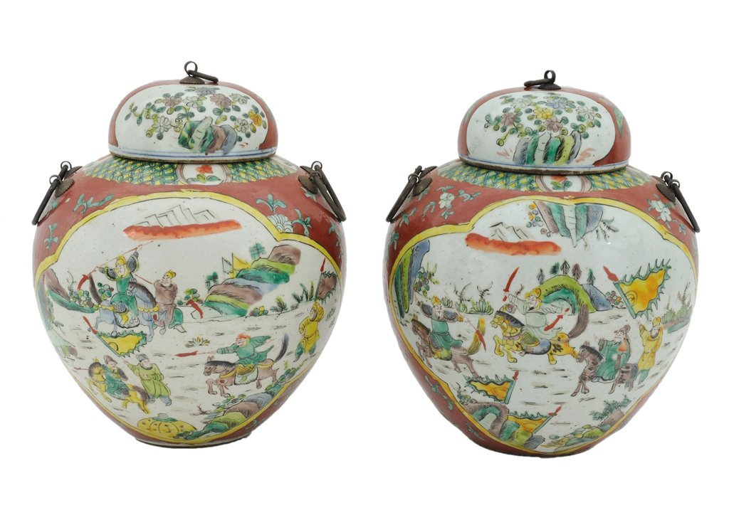 185: A PAIR OF CHINESE DECORATED CERAMIC LIDDED JARS 20