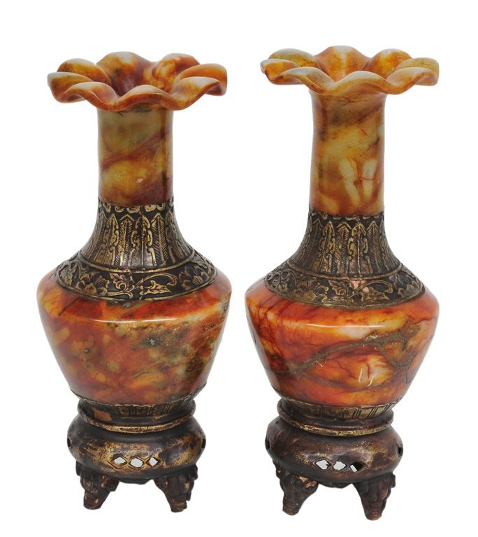 186: A PAIR OF CHINESE SOAPSTONE AND BRASS SMALL VASES