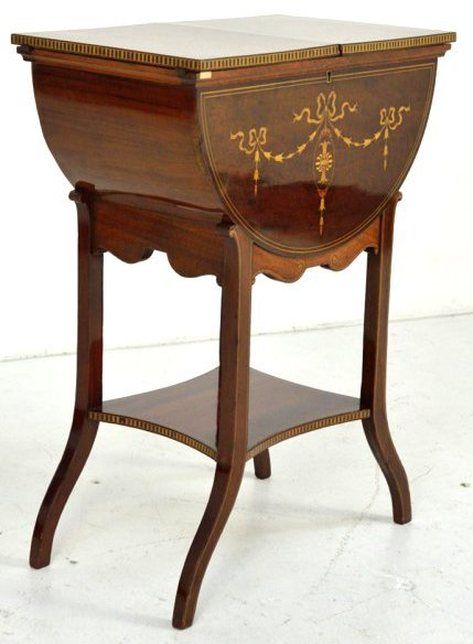 3: A CONTINENTAL MAHOGANY WORK TABLE WITH MARQUETRY INL