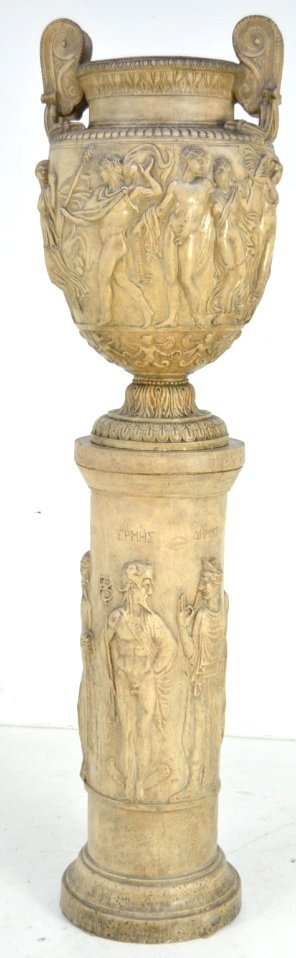 4: A GRECO ROMAN STYLE URN ON PEDESTAL
