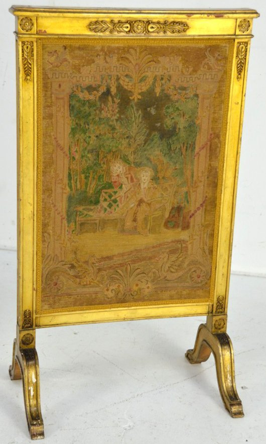 7: ANTIQUE LOUIS LXV STYLE GILT WOOD AND PETITE POINT F