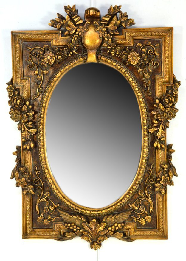 11: A FRENCH STYLE OVAL BEVELED MIRROR
