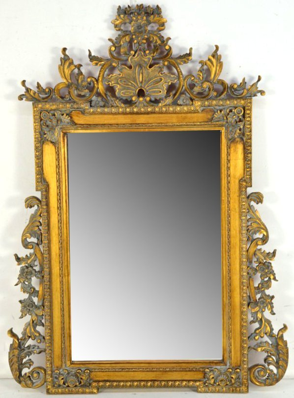 12: A FRENCH STYLE RECTANGULAR BEVELED MIRROR