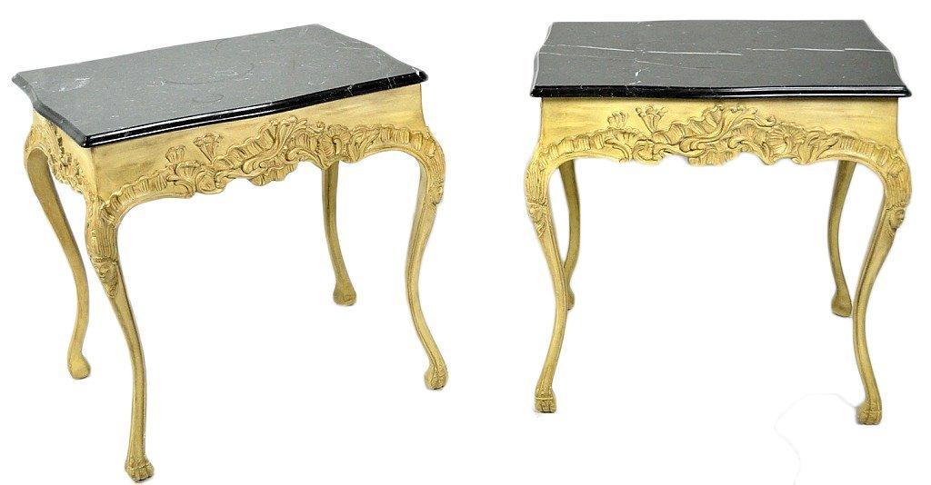 13: A PAIR OF FRENCH STYLE CARVED LAMP TABLES WITH MARB