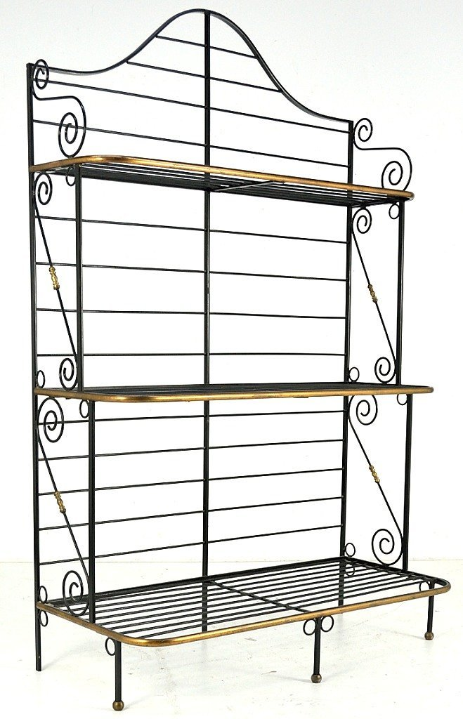 14: WROUGHT IRON BAKERS RACK WITH BRASS TRIMS
