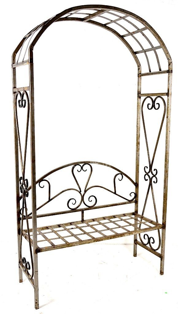 24: AN OILED STEEL ARBOR BENCH