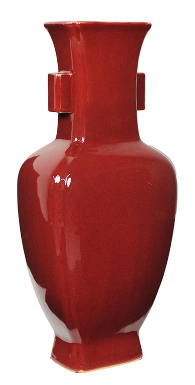 38: A LARGE ASIAN STYLE VASE IN CINNABAR RED GLAZE
