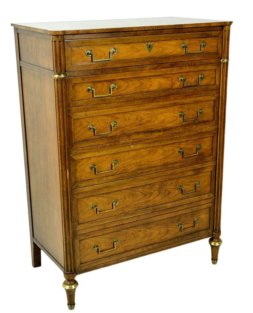 40: A DIRECTOIRE STYLE SIX DRAWER WALNUT CHEST BY BAKER