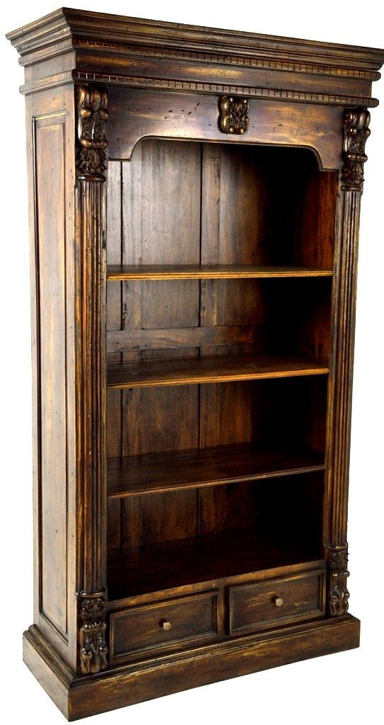 41: HAND CARVED BOOKCASE OF RECLAIMED ANTIQUE WOOD