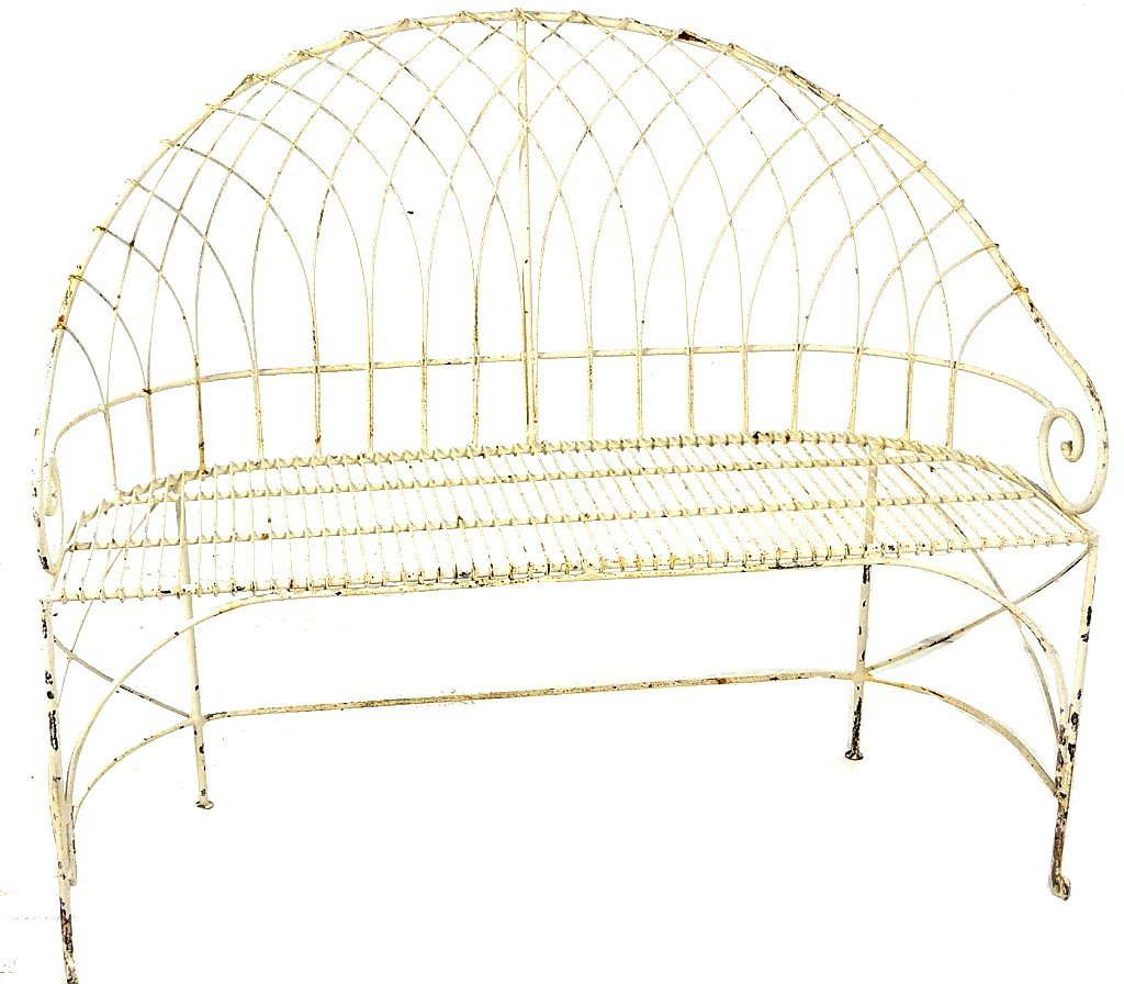 43: A PAINTED WROUGHT IRON GARDEN BENCH