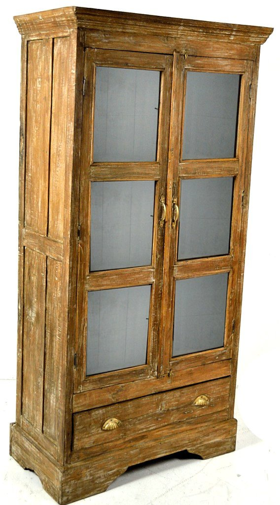 44: A LARGE TWO DOOR PRIMITIVE CUPBOARD