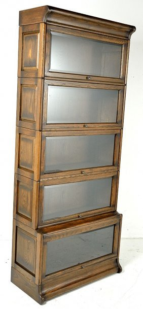 AN OAK LAWYERS BOOKCASE