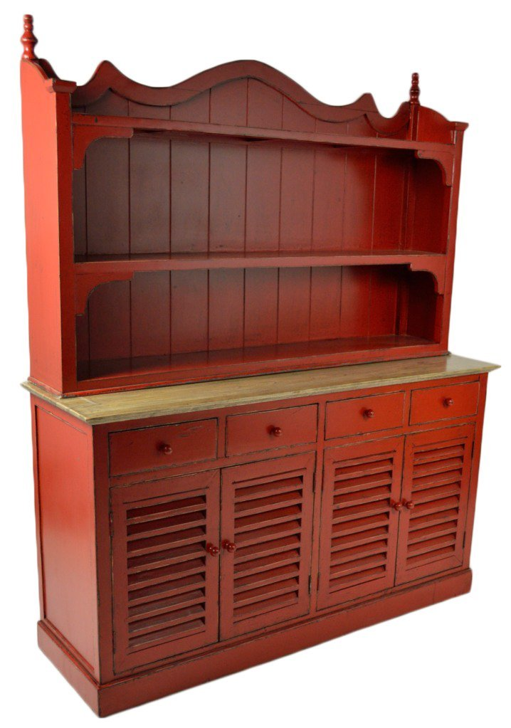 48: A RED ENAMEL COUNTRY STYLE BUFFET