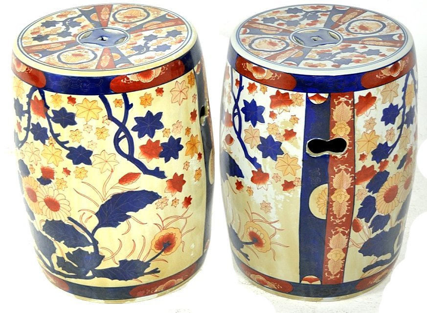 50: A PAIR OF CHINESE STYLE PORCELAIN GARDEN STOOLS