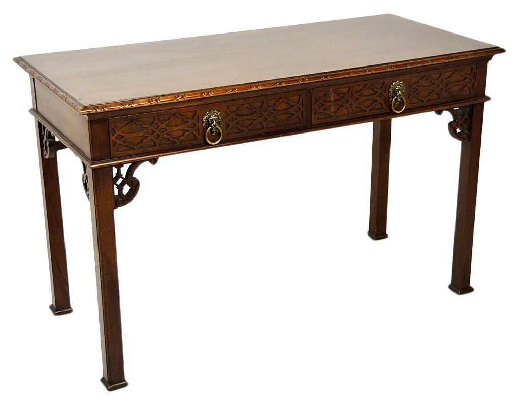 51: A CHINESE CHIPPENDALE STYLE MAHOGANY CONSOLE BY BAK