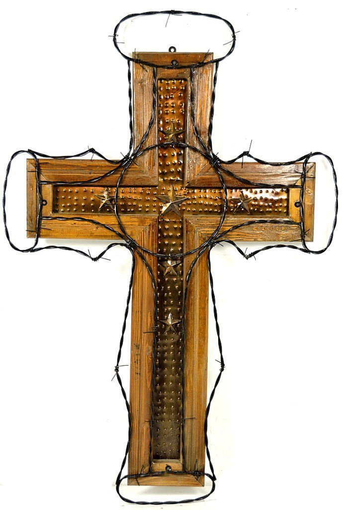 57: LARGE IRON AND WOOD CROSS