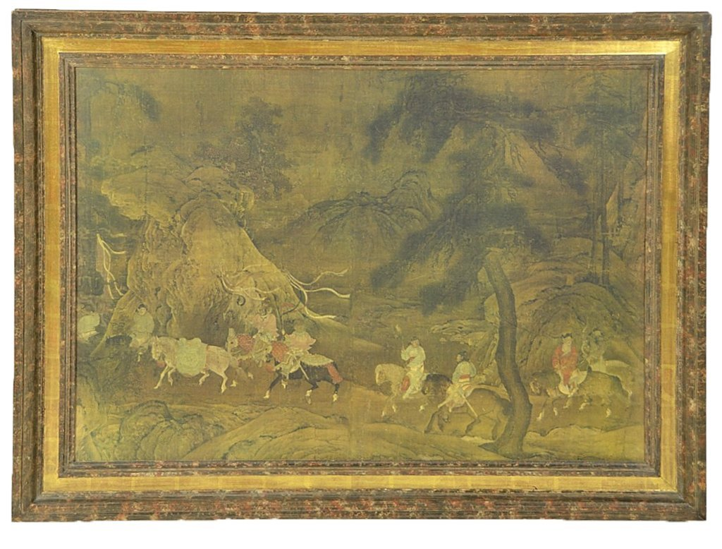 58: A LARGE FRAMED ASIAN STYLE DECORATIVE PRINT