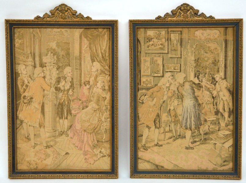 62: A COMPANION PAIR OF FRENCH STYLE FRAMED TAPESTRIES