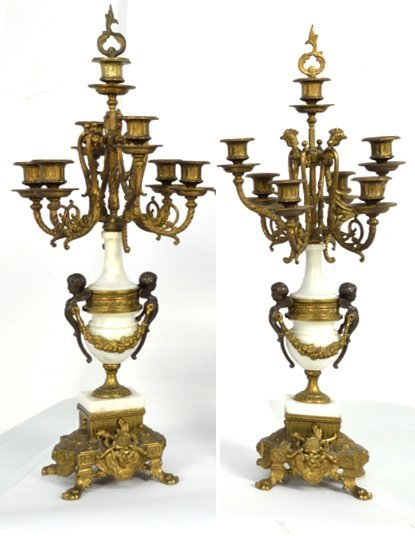 72: PAIR LOUIS XV STYLE GILT BRONZE AND MARBLE SIX LIGH