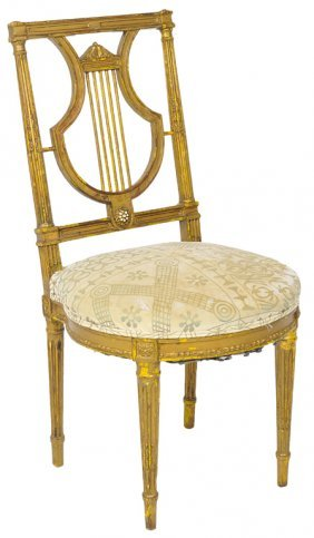 A FINE ITALIAN GILTWOOD LYRE BACK SIDE CHAIR