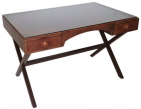 A BRAND MARKED STETSON LEATHER DESK