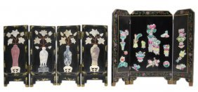 A DUO OF MINIATURE DECORATED BLACK LACQUER ASIAN S