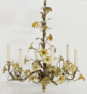 A FRENCH PARTIAL GILT BRONZE 6-LIGHT CHANDELIER