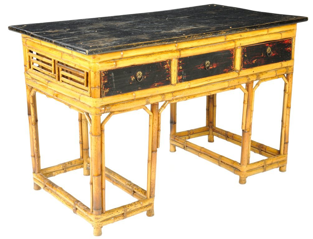 123: A CHINESE BAMBOO AND BLACK LACQUER DESK