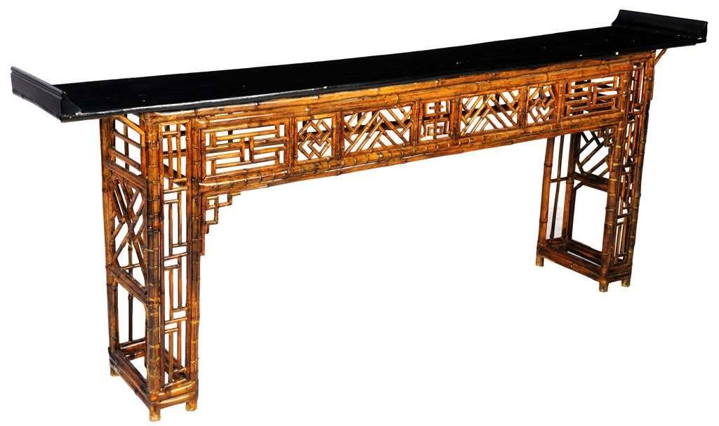 124: A CHINESE BLACK LACQUER AND BAMBOO FRETWORK ALTAR
