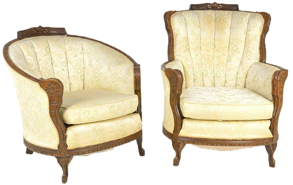 131: HIS AND HERS CARVED MAHOGANY PARLOR CHAIRS