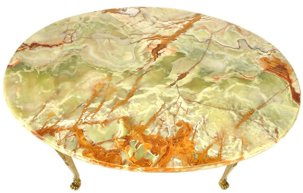 132: GILT BRONZE AND GREEN ONYX COCKTAIL TABLE
