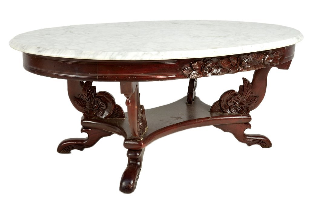 136: A VICTORIAN STYLE MARBLE TOP COFFEE TABLE