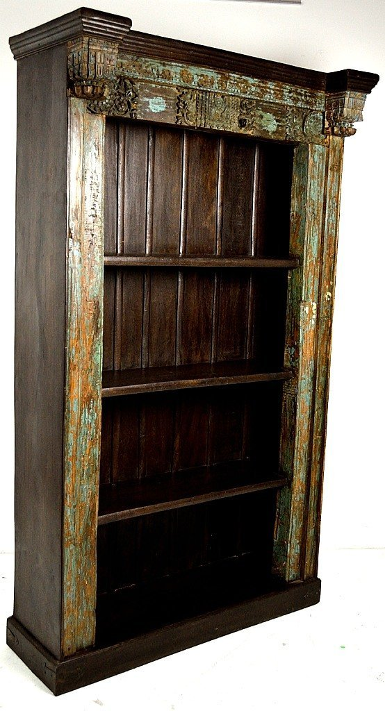 137: A CARVED AND DISTRESS PAINTED BOOKCASE