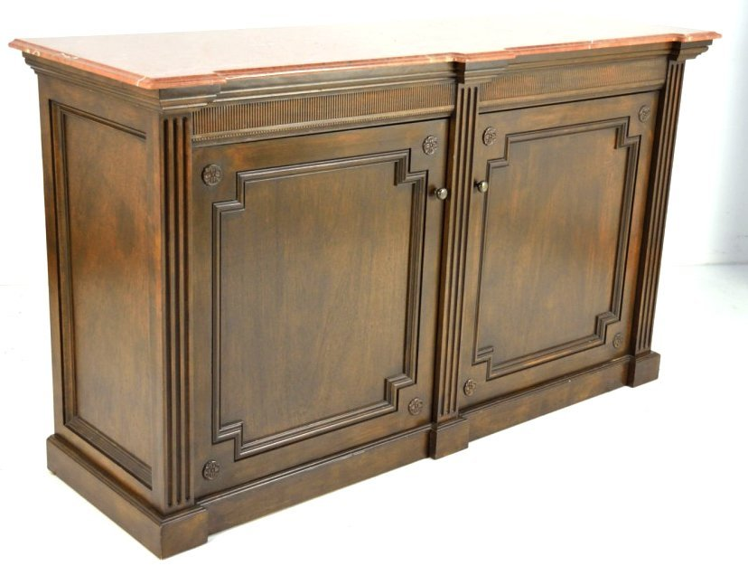 138: LARGE CONTINENTAL STYLE WALNUT SIDEBOARD WITH MARB