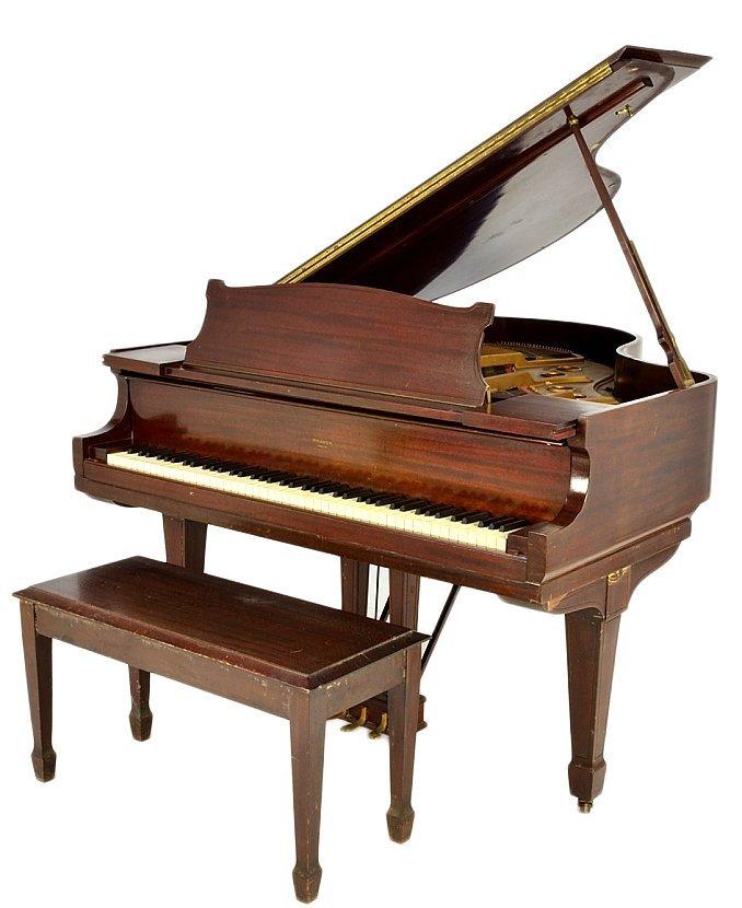 143: MAHOGANY BABY GRAND PIANO BY WEAVER