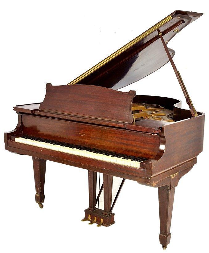 143: MAHOGANY BABY GRAND PIANO BY WEAVER - 2