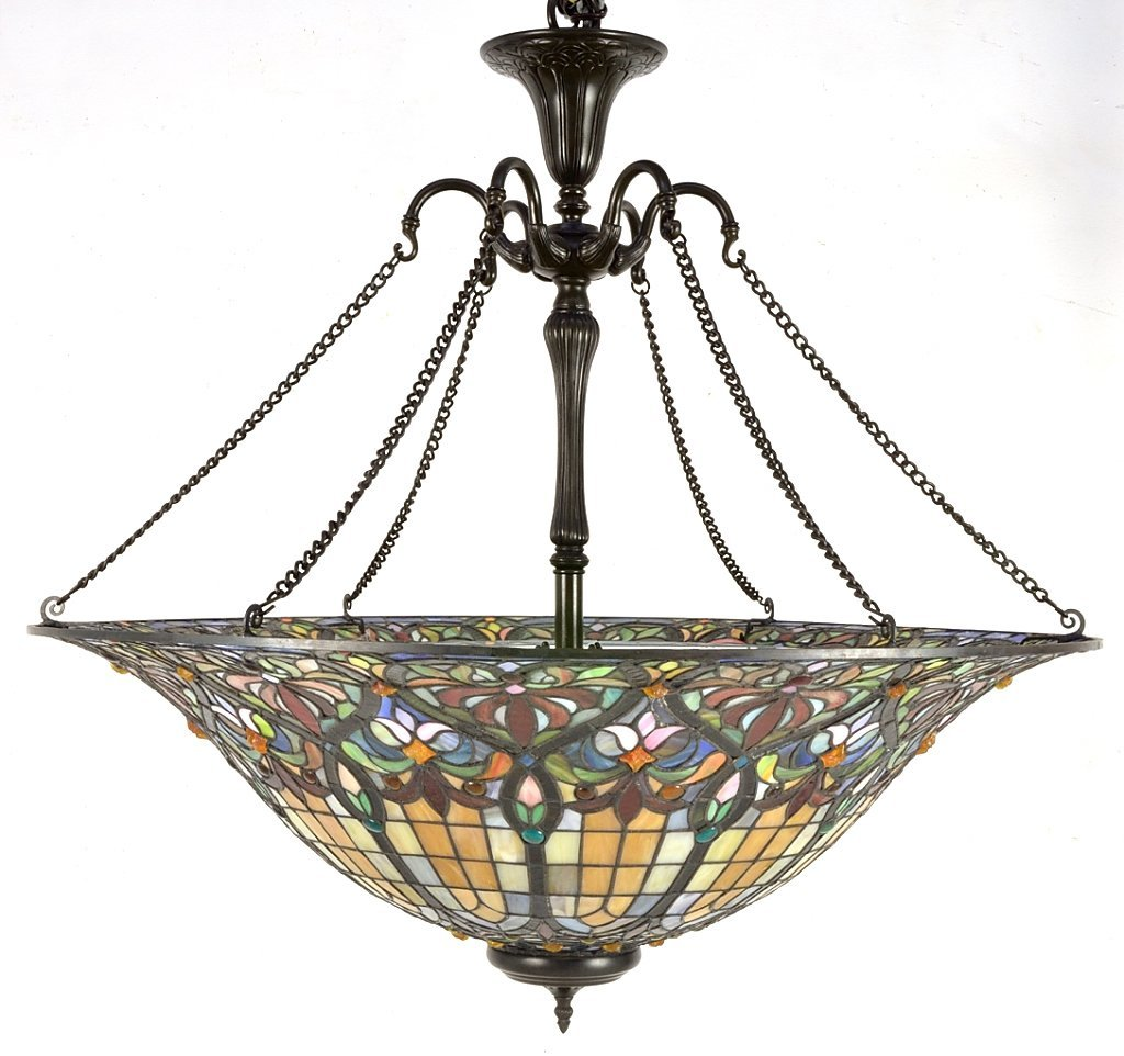 144: LARGE TIFFANY STYLE LEADED GLASS HANGING FIXTURE
