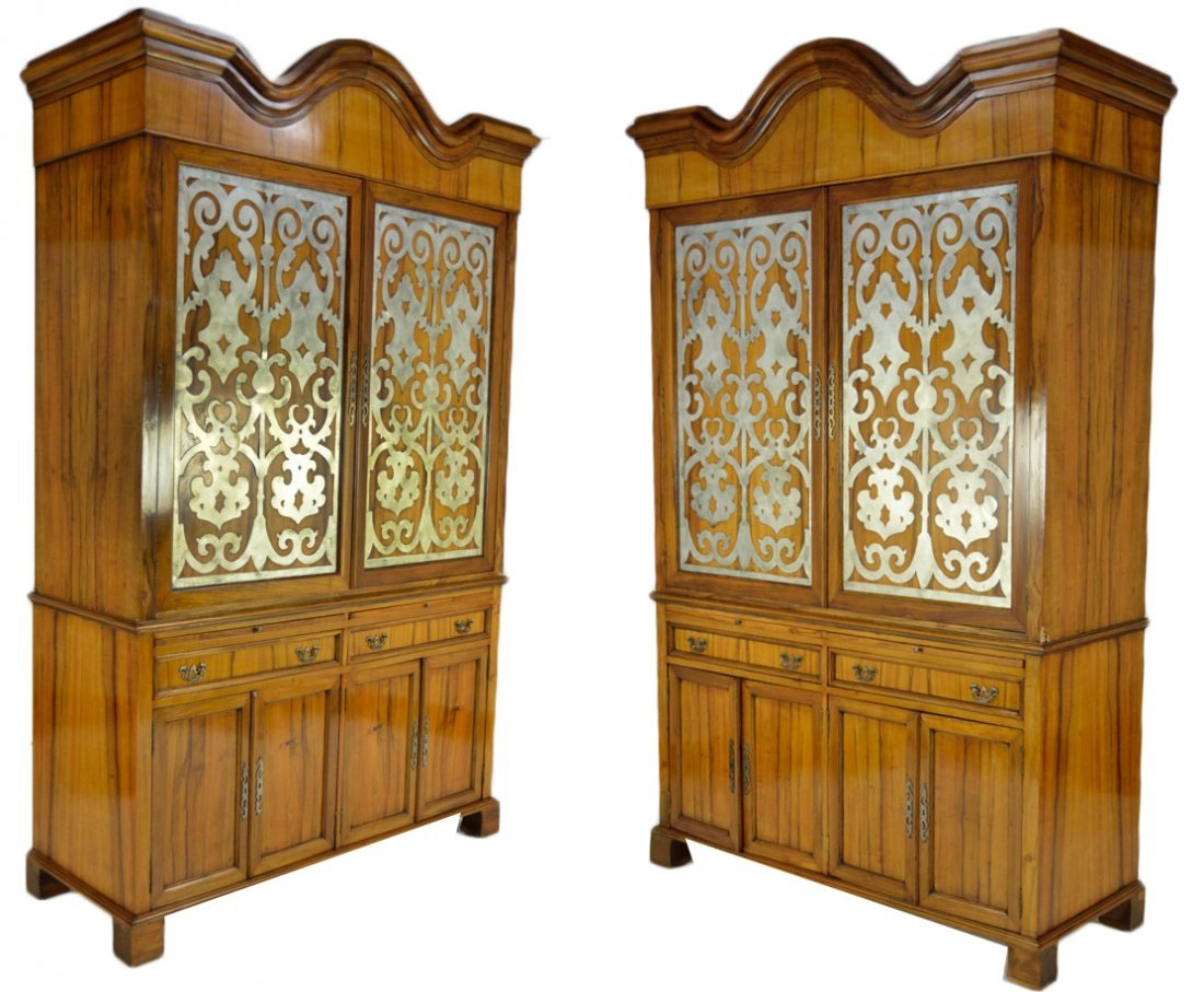 185: A PAIR OF CUSTOM MADE SAPELE WOOD CABINETS WITH ME
