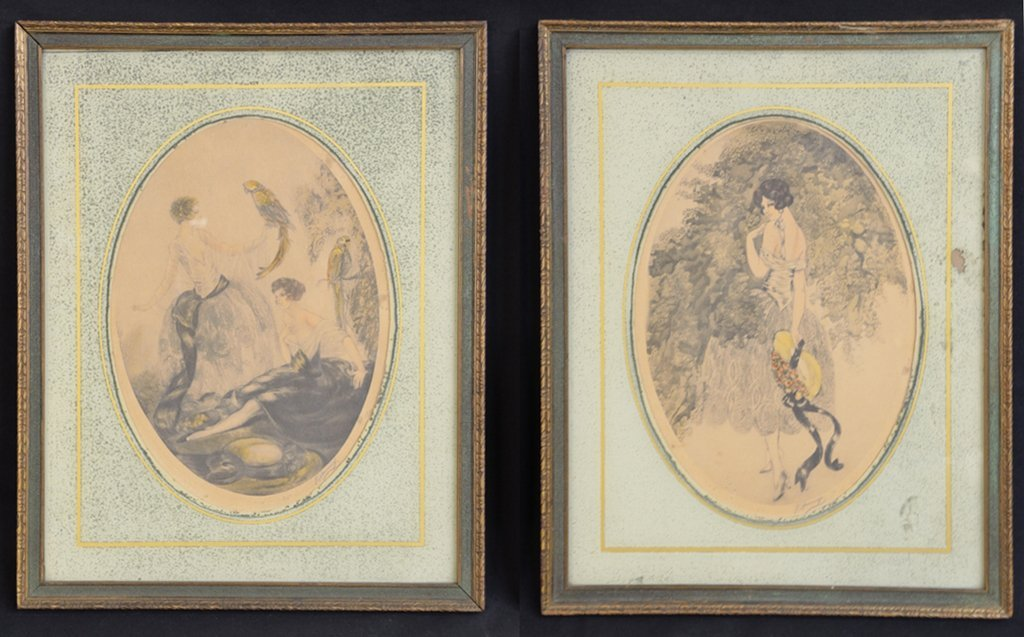 3: A PAIR OF HAND COLORED ART DECO ETCHINGS BY J. HEMIC