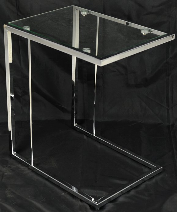 6: A CHROME AND GLASS OCCASIONAL TABLE