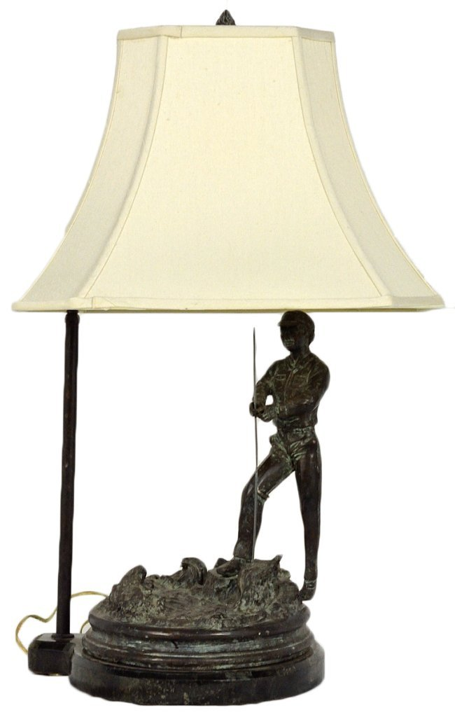 8: A FIGURAL BRONZE LAMP ON MARBLE BASE