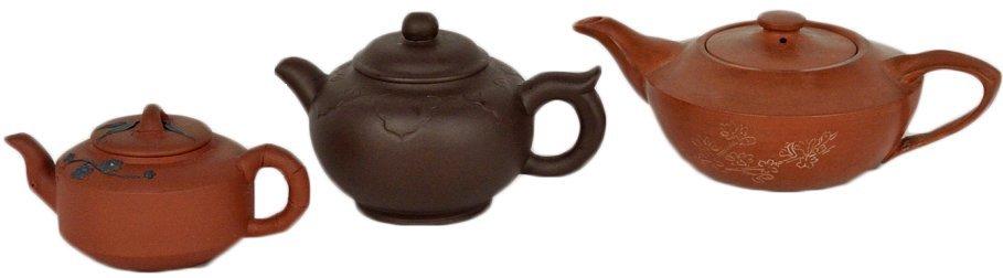 10: THREE VINTAGE CHINESE YINXIN TEA POTS
