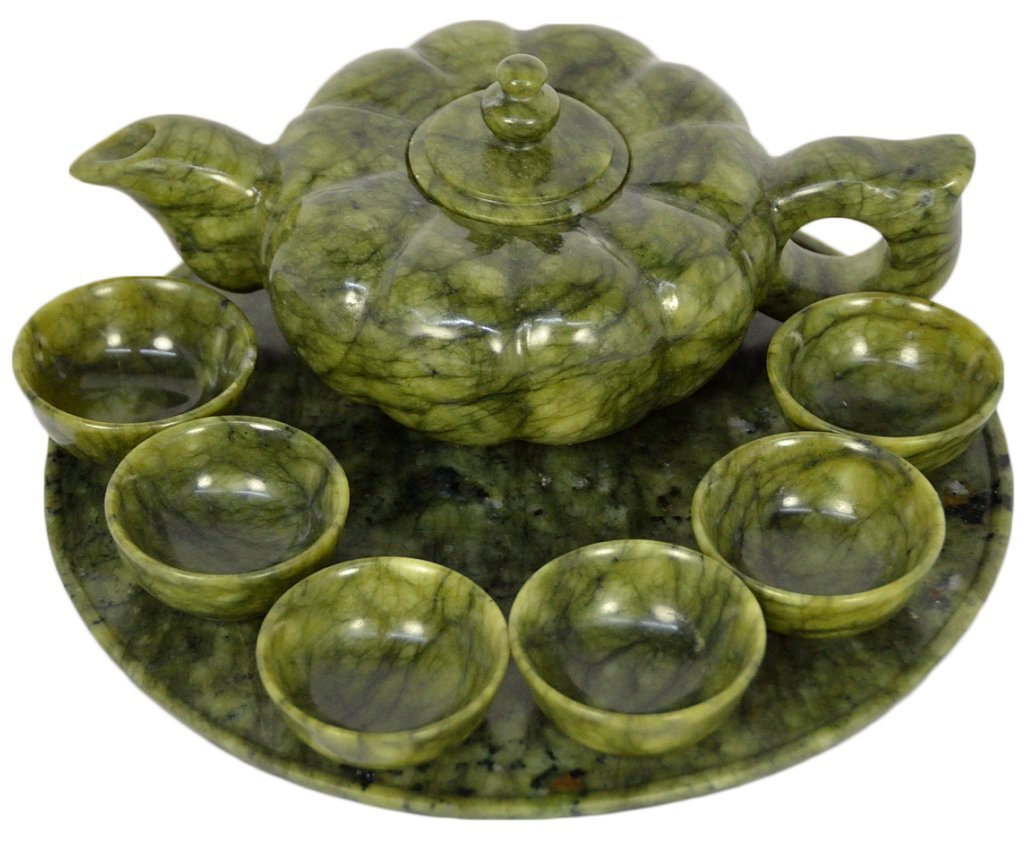 13: A VINTAGE CHINESE CARVED SPINACH JADE TEA SET