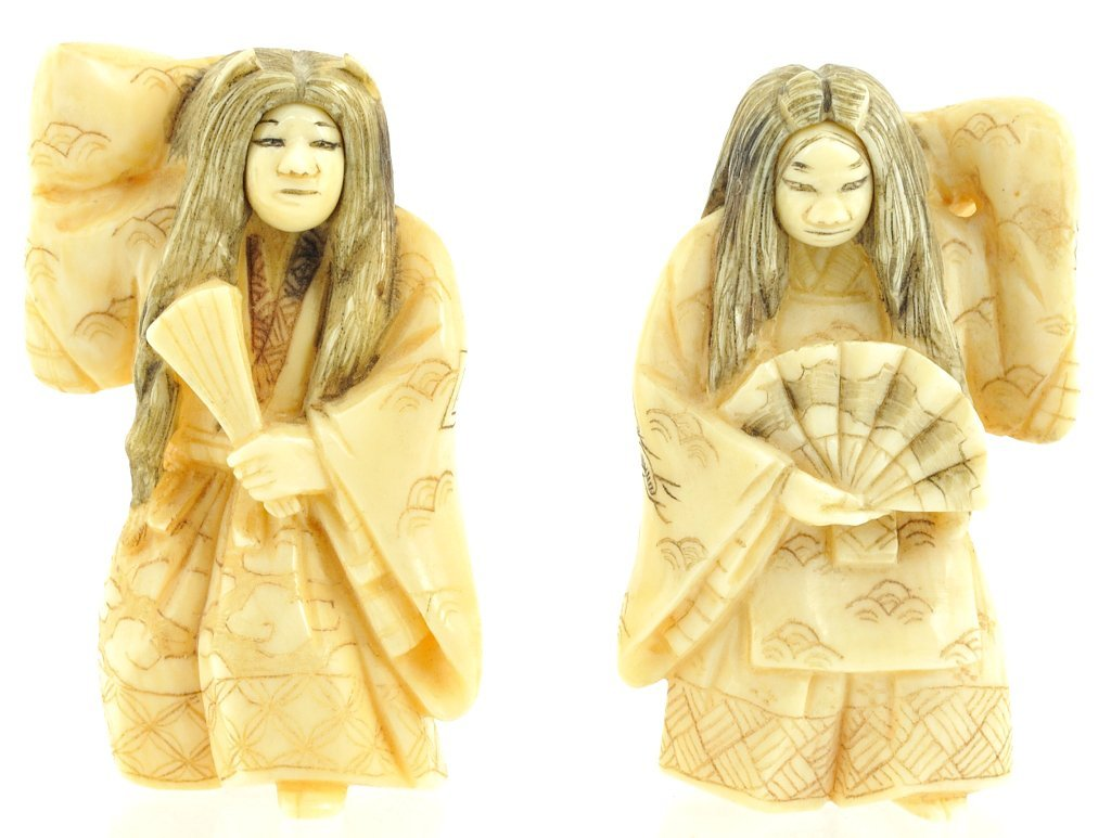 14: A PAIR OF JAPANESE FIGURAL IVORY NETSUKES