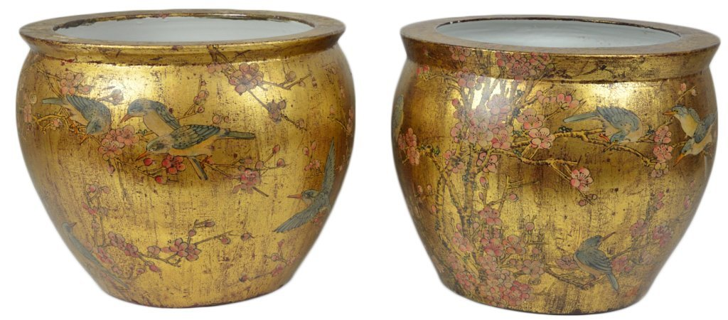 15: A PAIR OF GILT AND DECORATED FISH BOWL PLANTERS