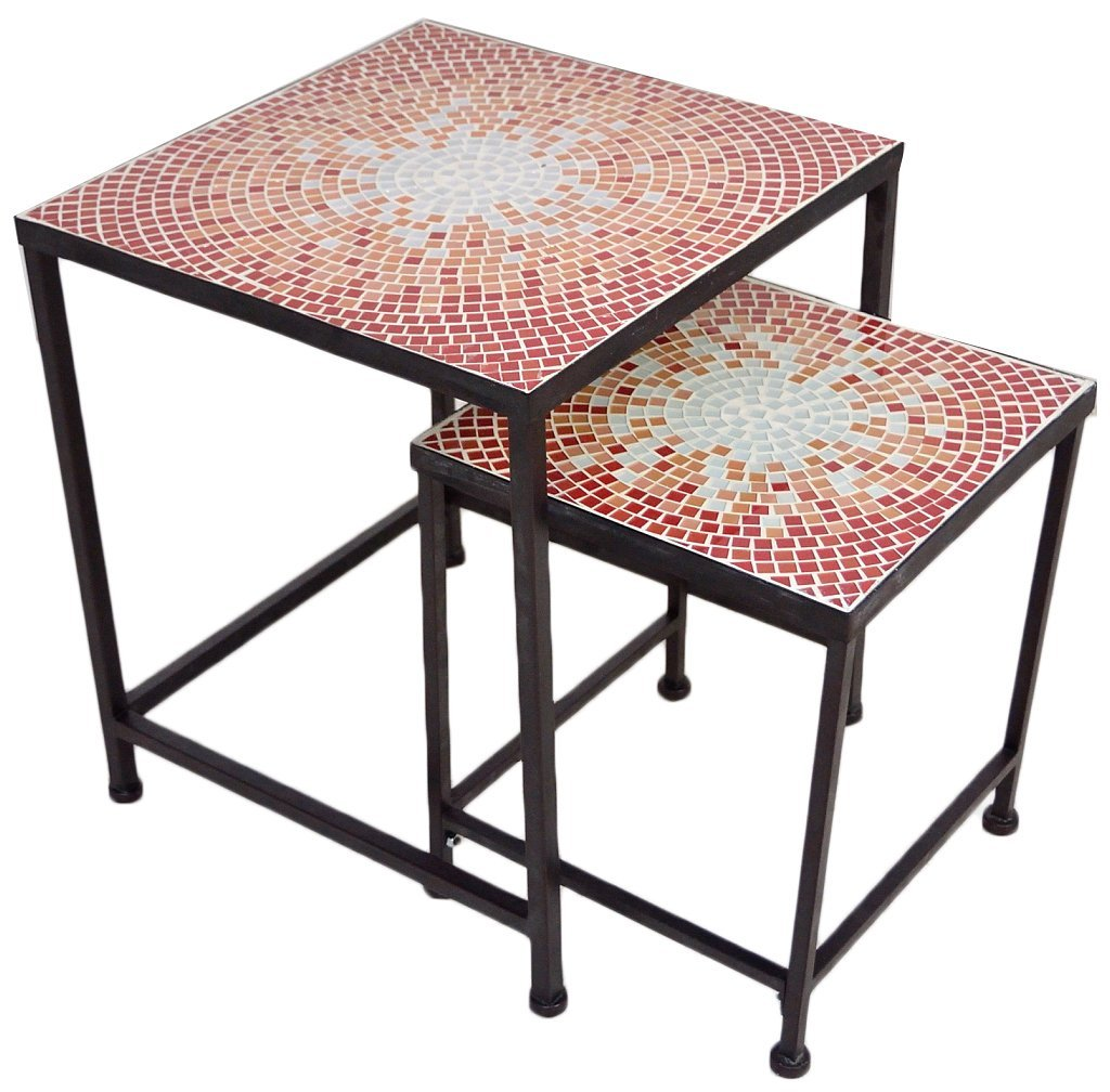 17: A NEST OF TABLES WITH MOSAIC GLASS TILE TOPS
